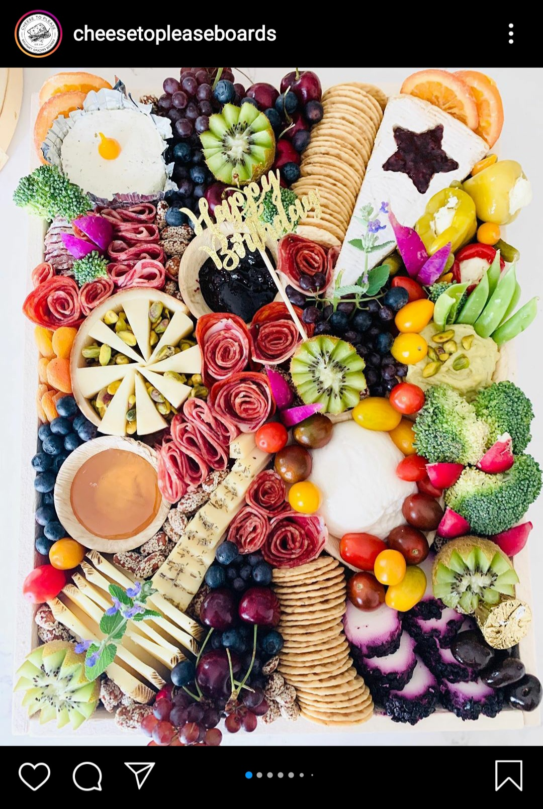 Artistic Birthday Celebration Board by @cheesetopleaseboards